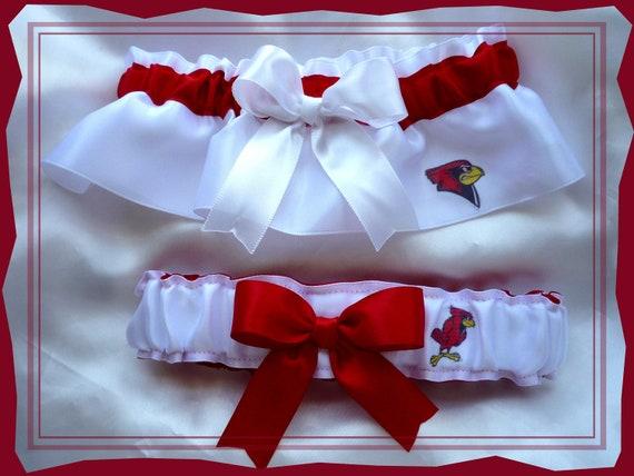 Illinois State White Satin Wedding Garter Set for Farrarsamantha