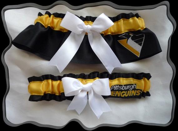 Pittsburgh PENGUINS Black Satin Ribbon Wedding Garter Set