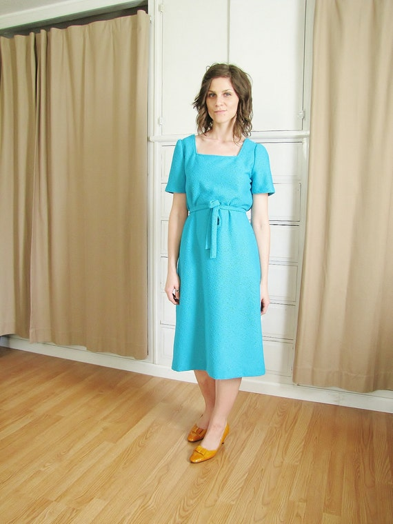 Vintag 1960's Turquoise Boucle Dress and Jacket