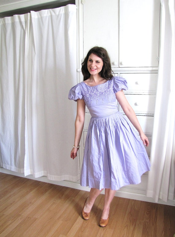1950s Dress Lavender Dress Puffy Sleeves 50s Dress