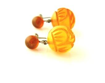 SALE: Carved Earrings - Vintage