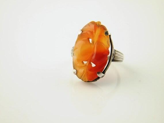 Carved Carnelian Sterling Ring - Vintage