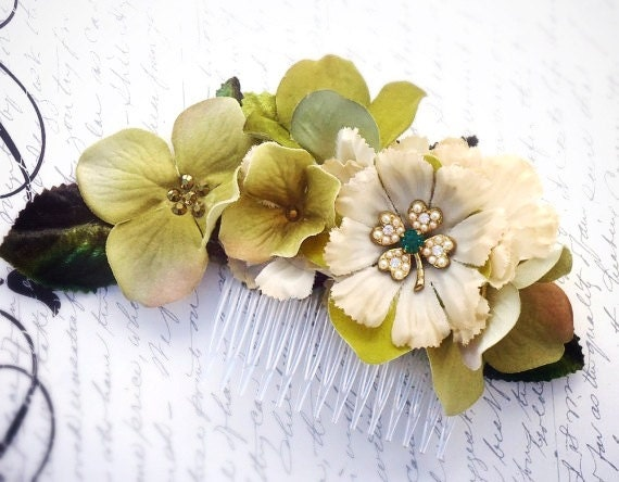 "Green velvet hydrangea and ivory hair comb with pearl shamrock ""Erin"""