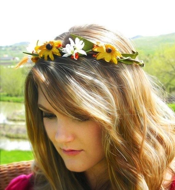 SALE Wild Child- A sunflower and wild daisy crown