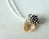 Pine Cone Necklace Woodland Jewelry Swarovski Crystal Sterling Silver, Gilded Forest
