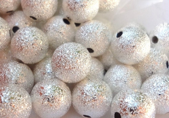 100pcs silver plated stardust beads 4mm