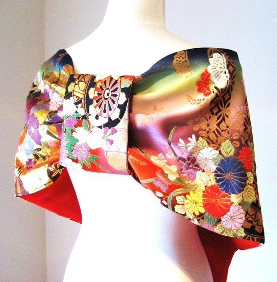 Custom listing for Denise Thank you :) Wedding KIMONO Shawl GEISHA Black Opal vintage kimono fall color size free