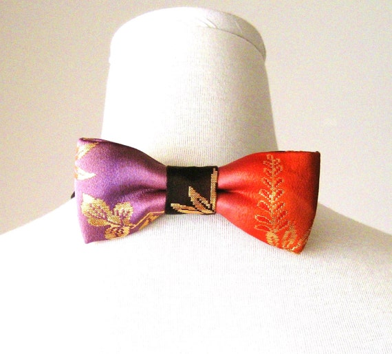 Men's bow tie made with vintage wedding KIMONO silk gold brocade wisteria red purple fits 15-20inch ready to ship