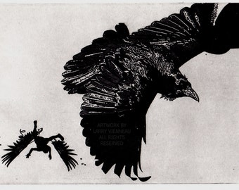 ICARUS, Raven artwork , Raven, crow,  Etching 5 inch x 7 inch
