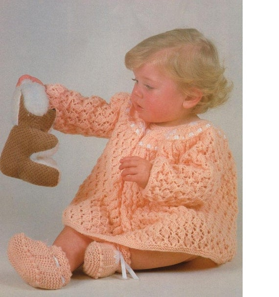 Knitting Patterns Lace Dress : KNIT PATTERN Babys Lace Dress with embroidered yoke and