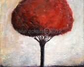 Fine art print of my original mixed media painting red tree purple cream c