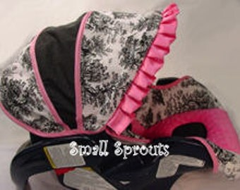 Custom Boutique Black Toile Hot Pink Infant car seat cover 5 piece set