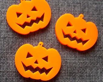 3 x Laser cut acrylic Pumpkin pendants