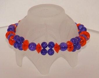 Orange And Purple Two Strand Bracelet