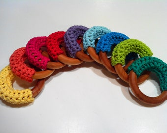 Sale Crochet and Wooden Teether Sensory Ring