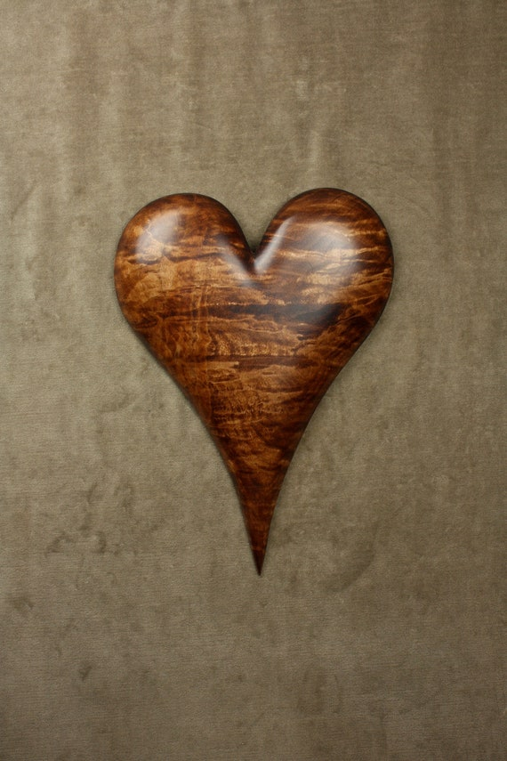 Personalized Wedding Heart Gift on Etsy carved by Gary Burns the Treewiz, also known as Wiz, Handmade, Woodworking