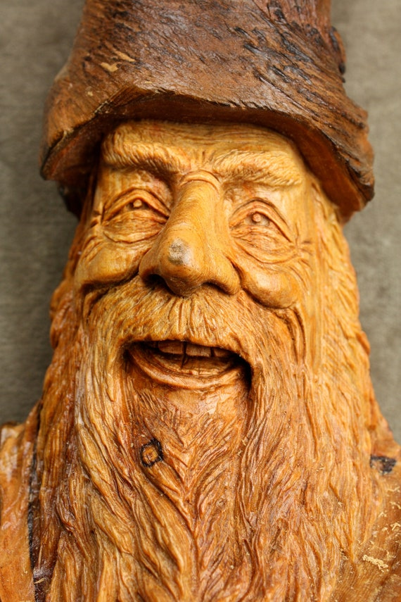 Wood Spirit Wood Carving Anniversary Gift, Christmas Gift for Dad carved by Gary Burns the Treewiz, Handmade Woodworking