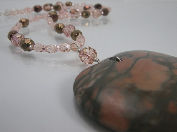DONT LOSE HEART Necklace - Jasper Pendant - Natural Earthy Gemstone - Beaded Necklace - Sterling Silver Clasp