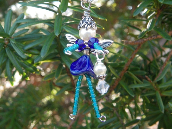 ILIANA Fairy Decoration - Good Luck Fairy Charm - Blue Fairy - Good Luck Charm - Fairy Cell Phone Charm - Zipper Pull - Fairy Ornament