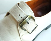 Mens Vintage White Leather Shoes Regal Briand Buckle 70s 8.5