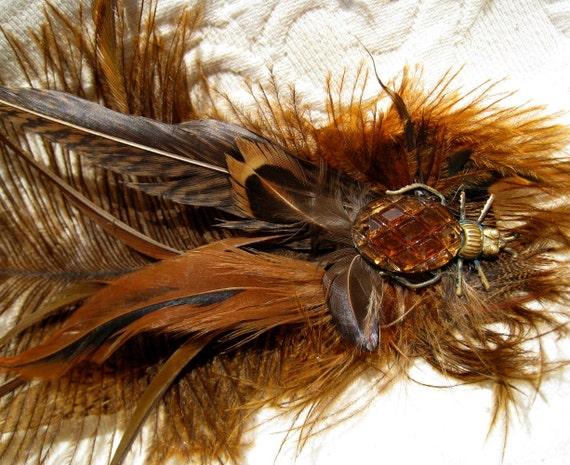 Steampunk Amber Copper Brass Beetle Feather Fascinator Burlesque