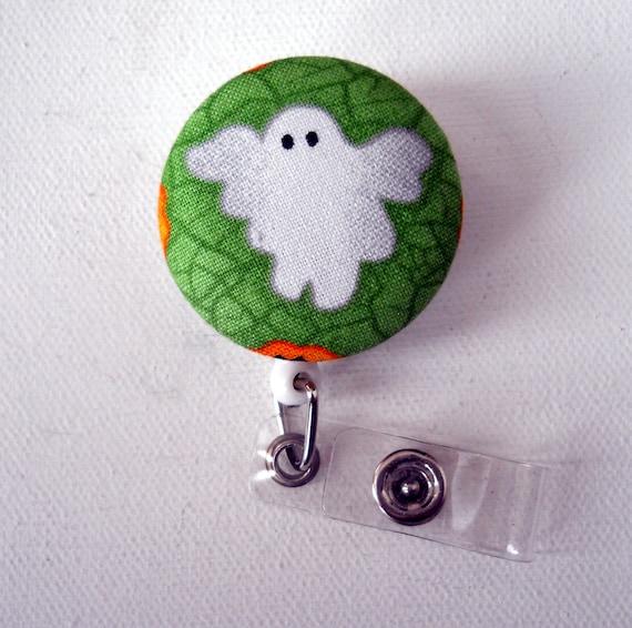 Green Ghost - Retractable ID Badge Reel - Name Badge Holder - Halloween Badge Holder - Pediatric Nurse Badge - Teacher Badge Reel
