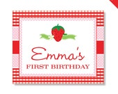 Strawberry Party - Personalized DIY printable sign