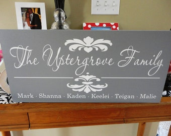 Custom Last Name Sign, Home Sign, Family Name Sign with First Names and Damask. Gift Sign, Weddings, Birthday or Anniversary. 10 X 24 inch.