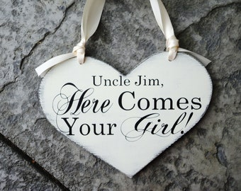 Uncle, Here Comes Your Girl with And they lived Happily ever after. 11 1/2 X 14 1/2 inch, 2-Sided, Vintage Heart Wedding Signs.