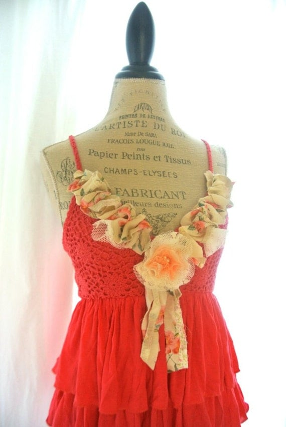 Gypsy cowgirl ruffle tunic, romantic rustic shirt, country chic tank top, womens clothing, upcycled, whimsical, camisole