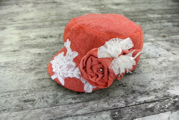 Country chic cadet hat, military cap, pumpkin spice, shabby tweed hat, womens accessories, rustic rose, cottage, shabby