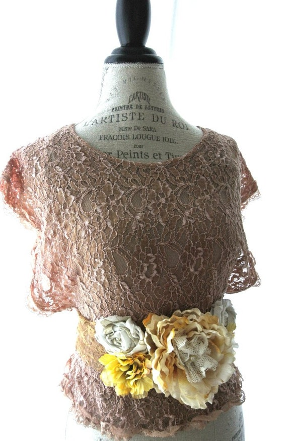 Romantic fall lace shirt, shabby boho chic, tea stained, rustic french country top, rustic farm girl, gypsy rose