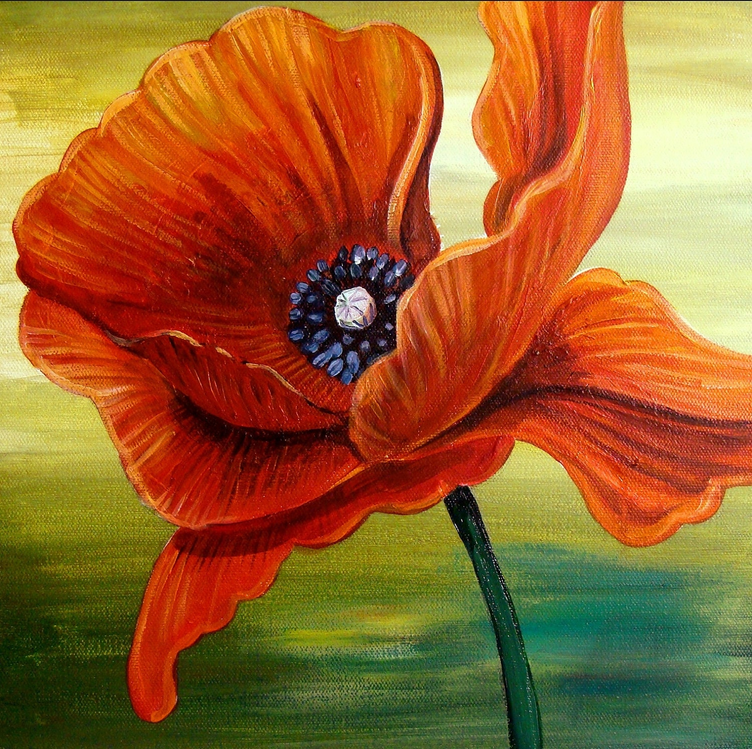 Poppy Flower Painting Acrylic Single red poppy paintingPoppy Flowers Painting