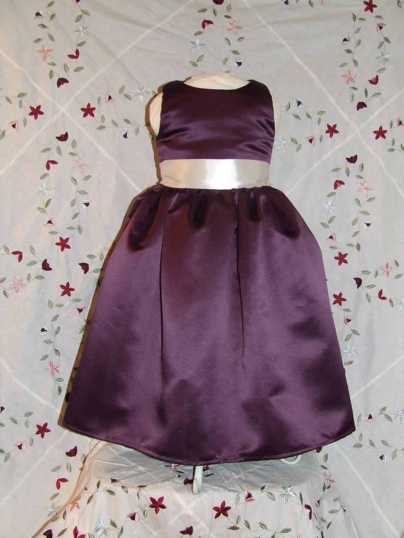 Eggplant Satin Flower Girl Dress