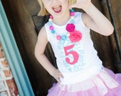 Hot Pink & Aqua Girls Custom Birthday Shirt with Age or Initial and Rosette Flower Sizes 12m-8