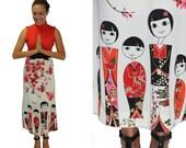 ALFRED SHAHEEN Kokeshi Doll Border Print - Vintage Dress
