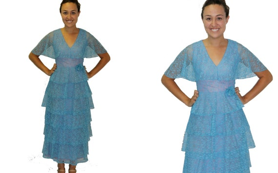 RESERVED FOR TRIPNIP Vintage Dress -Blue Lace Overlay Tiered Maxi
