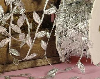 Silver Leaves Twig Cord Leaf Ribbon