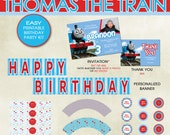 Thomas the Train Birthday Party Printable Kit - Invitation, Thank You Card, Cupcake Wrappers, Cupcake Toppers, etc. - Thomas Tank Engine