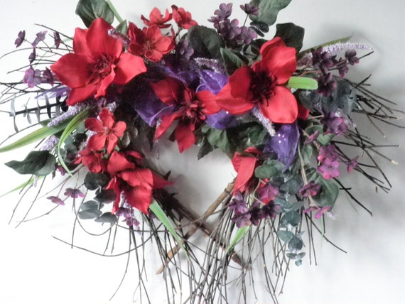 HOLD FOR ANGEL - Wreath, twig heart wreath with pink and purple silk flowers