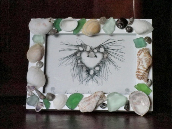 Nautical Picture Frame For Coastal Home Decor With Sea Glass And Shells