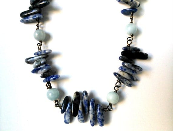 Lake Michigan Cairns, Blue Sodalite and Light Blue Aquamarine Summer Necklace - Mint Light Turquoise Gift Box Included