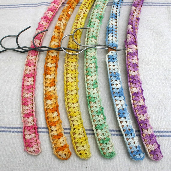 Vintage Crochet Covered Wood Hangers / Rainbow Covered Hangers