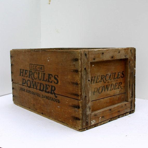 Vintage Rustic Wood Explosives Crate / Industrial Storage