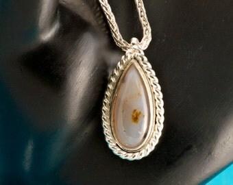 White Dendritic Quartz Argentium Pendant Necklace, Quartz Pendant, Handmade Silver Pendant