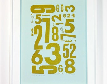 Count Your Blessings Letterpress Print (Gold)