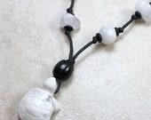 Smooth Turtle Nursing Necklace in Calming White Howlite Breastfeeding Nursing