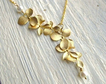 Bridesmaid Necklace, Gold Orchid Flowers with Freshwater Pearls, Bridal, Lariat Necklace, Wedding Jewelry