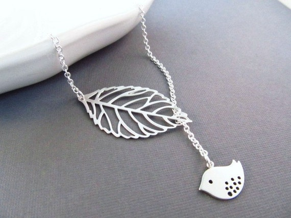 Leaf and Bird Necklace, Silver Pendant,  Lariat Necklace, Spring Wedding, Bridesmaid Necklace, Everyday Jewelry, Gift for Mom