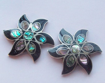 Taxco Mexican Sterling Silver Flowers Abalone Shell Inlay
